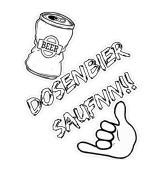 Dosenbier Saufnn!!-Aufkleber und Kissen