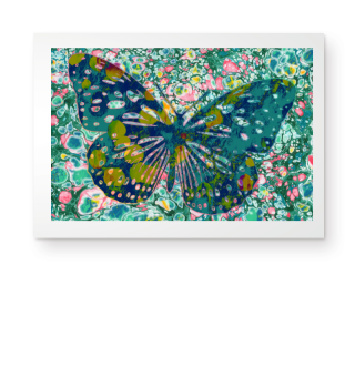 Marble Butterfly Multicolored Poster