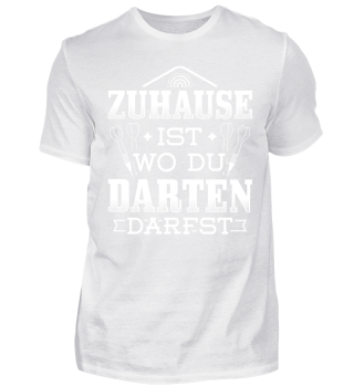 Lustiges Dart Darts Shirt zuhause Darten