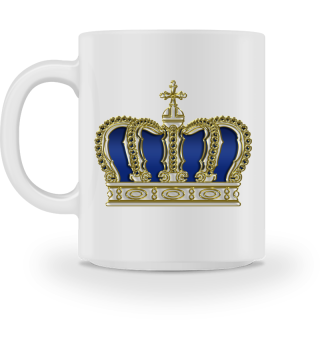 Royal Cross Crown - Gold White Blue Text