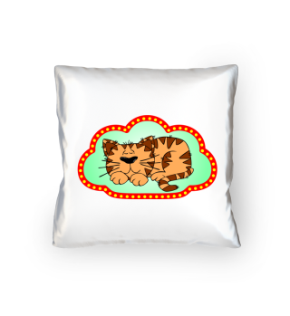 little sleeping cat in red border gift