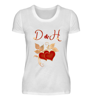 Paarshirt D und H Initialen