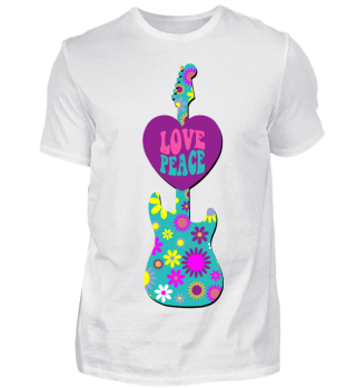 Flower Power Retro - Love Peace Guitar 1