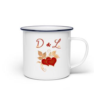 Tasse für Paare Initialen D und L