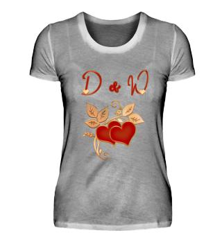 Paarshirt D und W Initialen