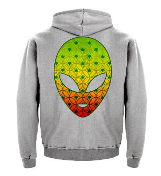 Alien Head Silhouette - Cannabis Pattern