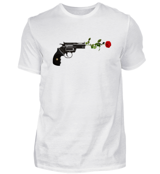 STYLISH GUN & RED ROSE T-SHIRT GIFT IDEA