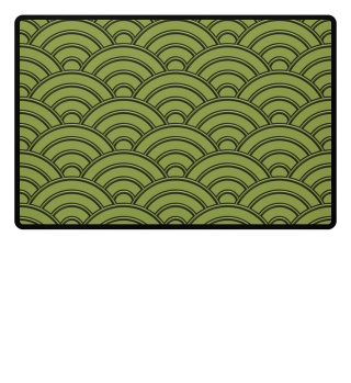 Geometric half-circles waves olive green