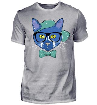 Hipster Cat Summer Beach Cap Glasses 3