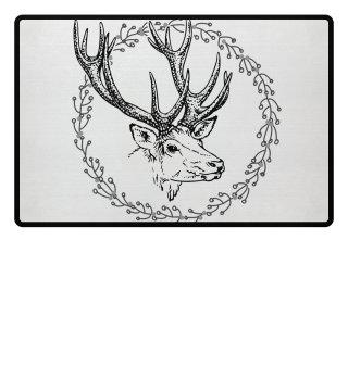 Winter Wreath with Deer - black