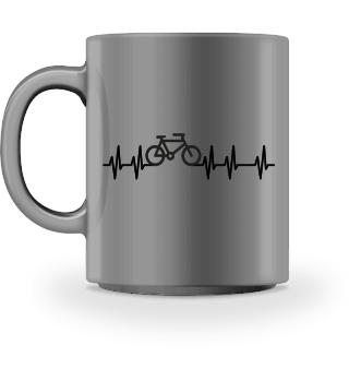 Herzrhythmus Kurve Fahrrad I - schwarz
