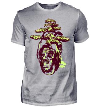 Gorilla Affe mit Baum Wald auf dem Kopf