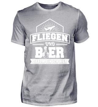 Lustiges Flieger Fliegen Shirt Und Bier