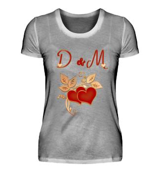 Paarshirt D und M Initialen
