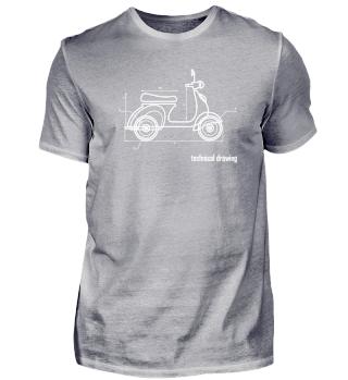 Technical Drawing - Scooter Bike Biker