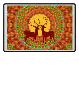Mandala Young Deers with Full Moon