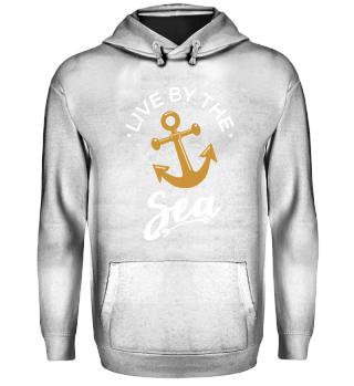 Live By The Sea Shirt Hoodie Damen Anker