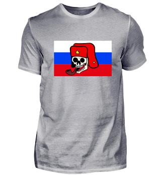Russland Fahne -Totenkopf mit Pfeife