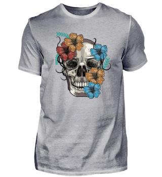 Totenkopf mit Blumen