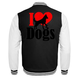 ★ I LOVE DOGS grunge black red