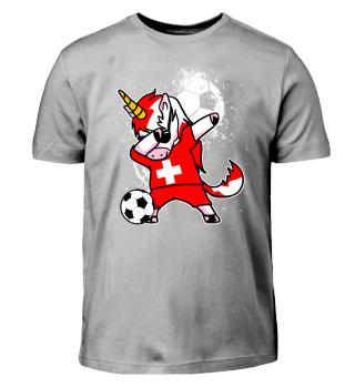 Schweiz Fussball Einhorn Unicorn Dab