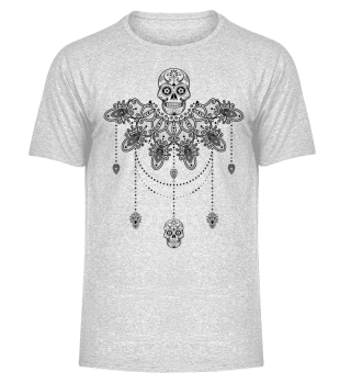 Dotwork Tattoo Skull Mandala 3 - black