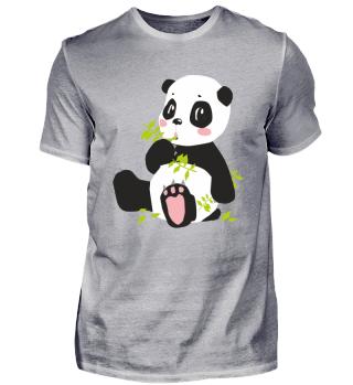Panda mit Zweig und Rosa Tatzen