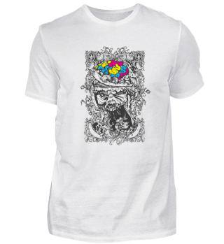 black and white Skull with coloured Head
