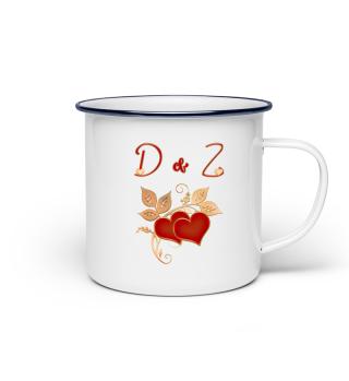 Tasse für Paare Initialen D und Z
