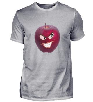 Apfel mit zornigem Gesicht