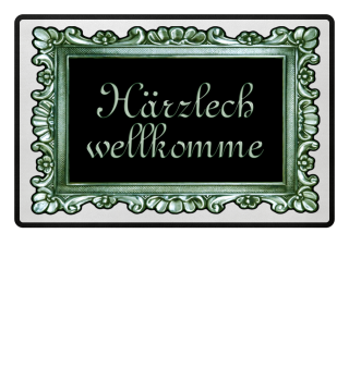 Vintage Rahmen Grün Härzlich Wellkomme