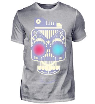 blue red robotic Roboter Head Design Art