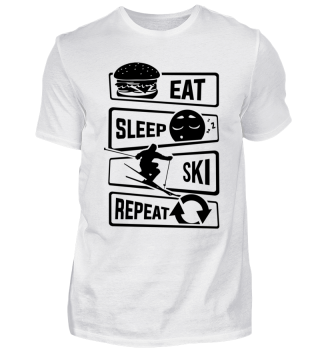 Eat Sleep Ski Repeat - Winter Snow