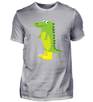 Kindermotiv Krokodil in gelben Gummistie