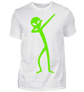 Dabbing Stick Figure - Green ALIEN