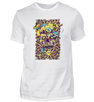 colourful Spaghetti noodles death Skull