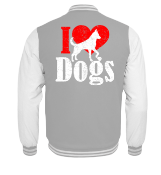 ★ I LOVE DOGS grunge white red