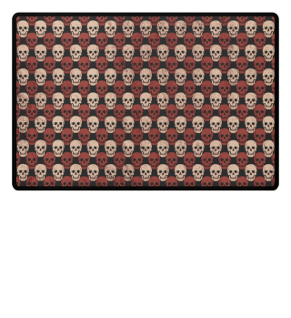 Symmetrical Skulls Pattern - brown beige