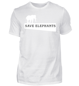 SAVE elephants - white