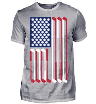 Golf Vintage USA Flagge Bälle & Schläger
