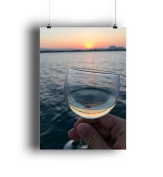 Glas Wein am Meer Sprüche Poster