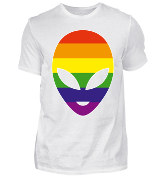 Alien Head Silhouette - Rainbow Flag I