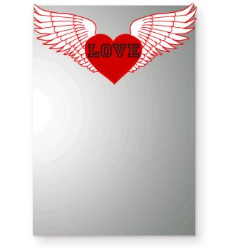 Herz Flügel Liebe Rot Weiß