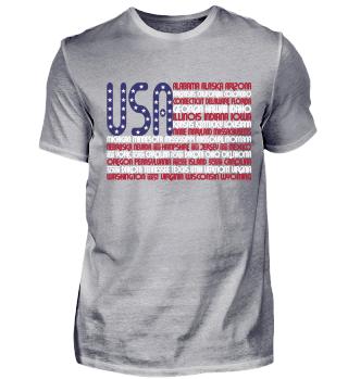 USA-Shirt mit Namen aller Staaten