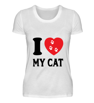 I LOVE CAT HEART ANIMAL BIRTHDAY GIFT
