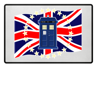 ★ Blue Police Box - Union Jack Flag 2a
