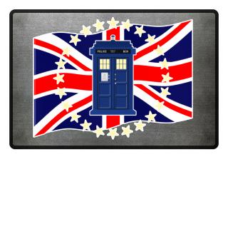 ★ Blue Police Box - Union Jack Flag 2a