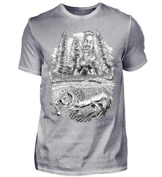 Angeln Angler Karpfen schwarz-weiss