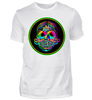 Psychedelic Neon Skull Mustache Button