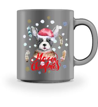 ☛ Merry Christmas · Boho Dog #8AT